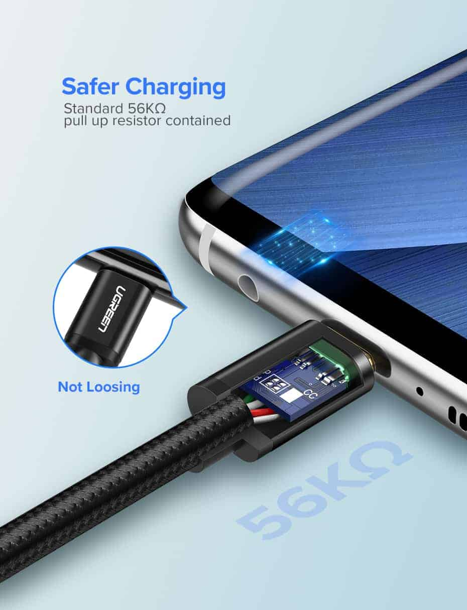 สายชาร์จ Type C Ugreen 3A Support Qualcomm Quick charger for android phone-4-safer charging