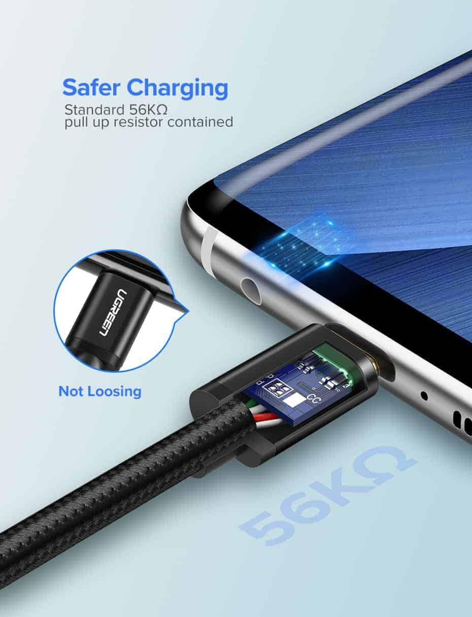 สายชาร์จ Type C Ugreen 3A Support Qualcomm Quick charger for android phone-4-safer charging