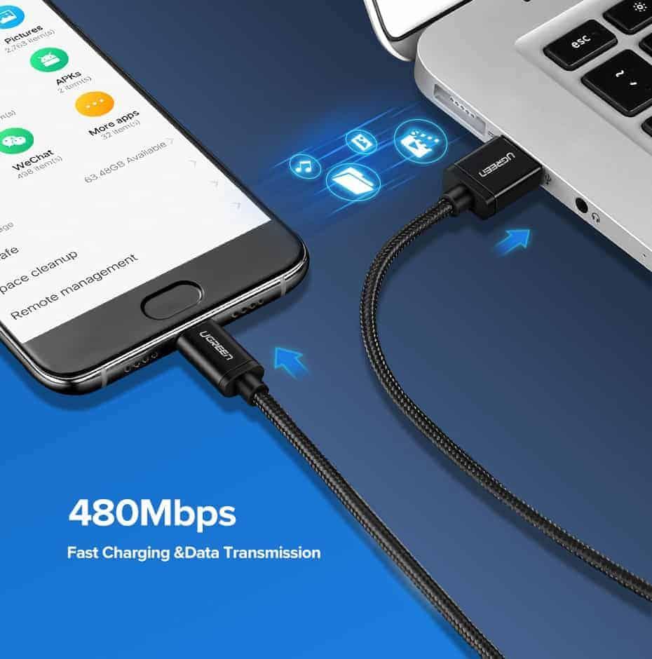 สายชาร์จ Type C Ugreen 3A Support Qualcomm Quick charger for android phone-6-data transmission