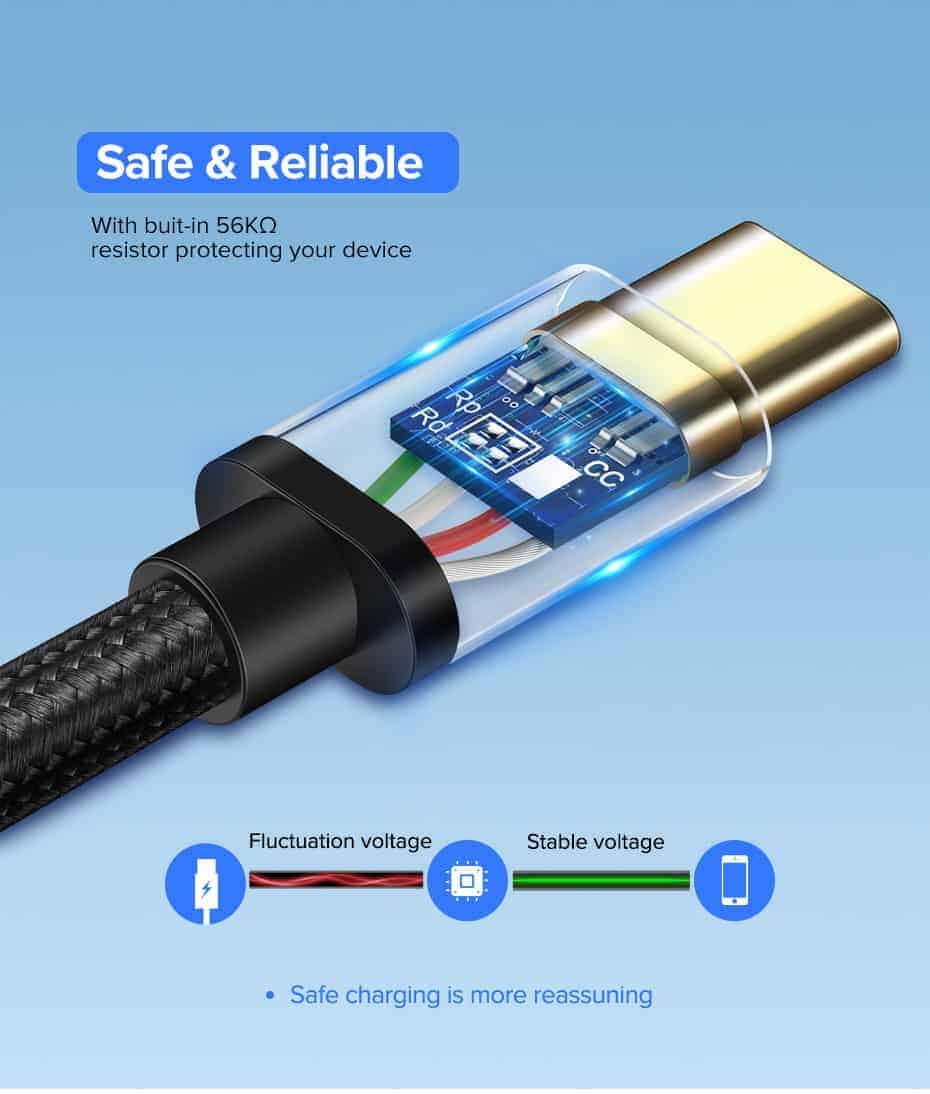 สายชาร์จ Type C Ugreen 3A Support Qualcomm Quick charger for android phone-7-Safe reliable
