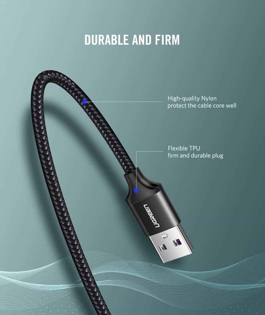 สายชาร์จ Type C Ugreen 5A for Supercharge Huawei P10 P20 Pro USB 3.1 Fast Charging-11-Durable and firm