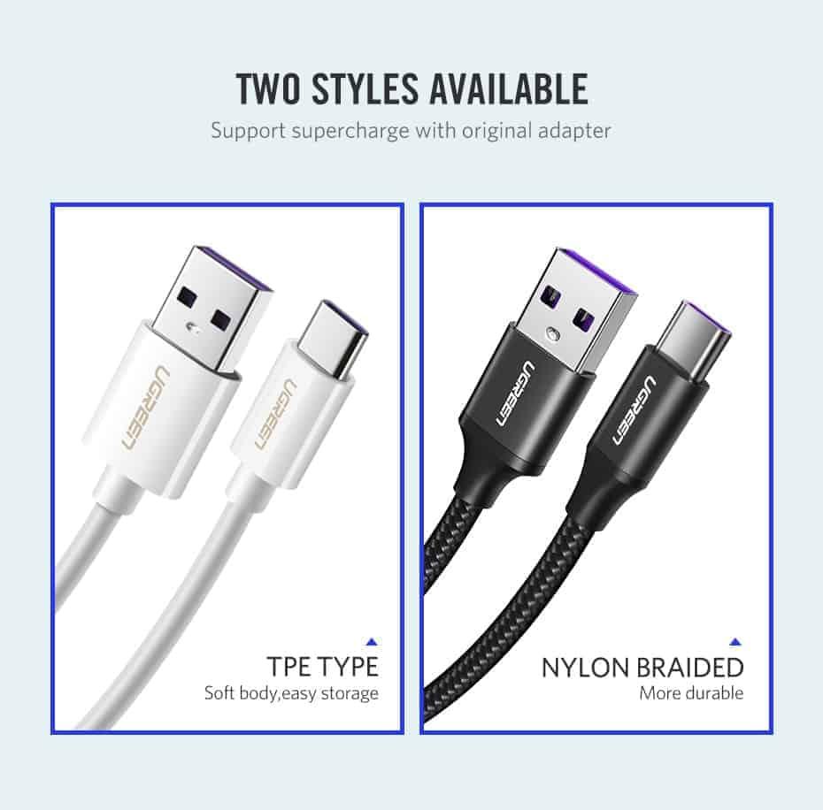 สายชาร์จ Type C Ugreen 5A for Supercharge Huawei P10 P20 Pro USB 3.1 Fast Charging-3-two Styles