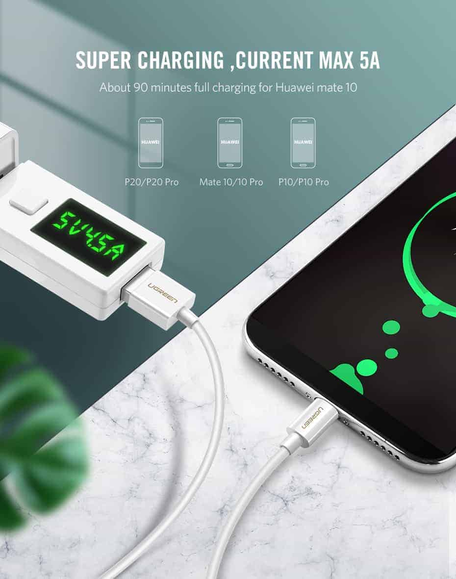 สายชาร์จ Type C Ugreen 5A for Supercharge Huawei P10 P20 Pro USB 3.1 Fast Charging-4-super charging 5V