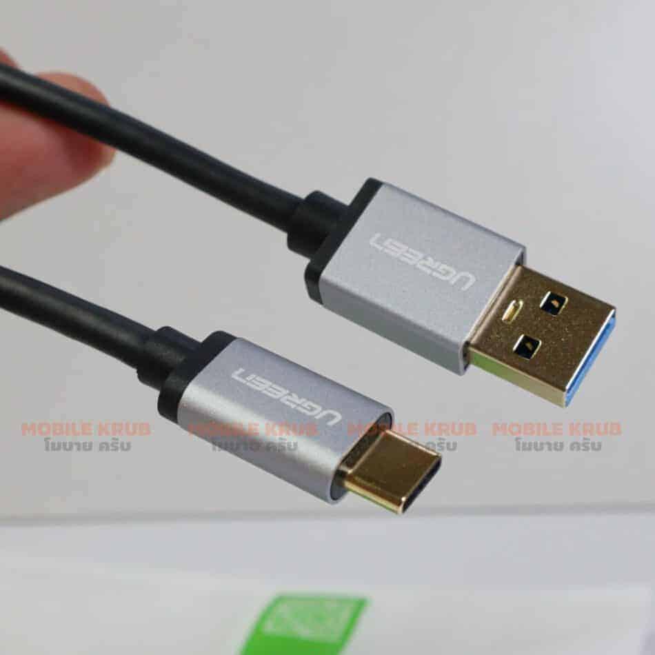 สายชาร์จ ugreen usb 3.0 type c Fast charging cable-รูปสินค้าจริง-ส่วนหัวของสาย