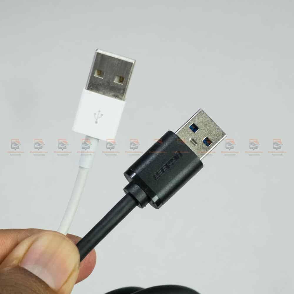 สายชาร์จ ugreen usb 3.0 type c Fast charging cable-รูปสินค้าจริง-เทียบขนาด