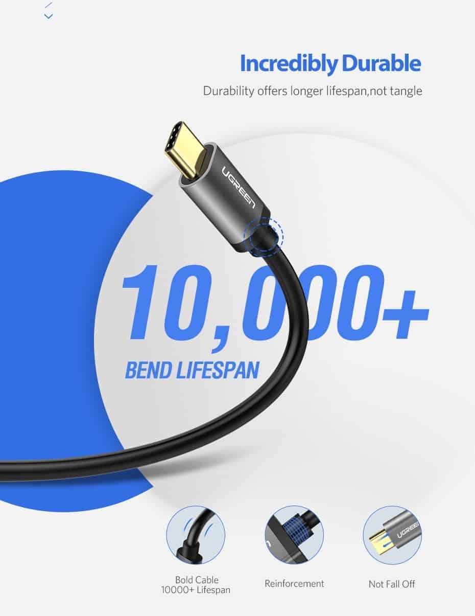 สายชาร์จ ugreen usb 3.0 type c Fast charging cable-incredibly durable