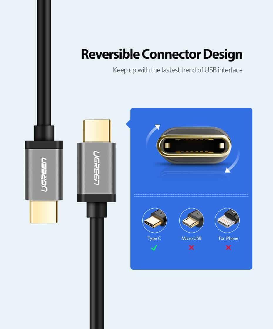 สายชาร์จ ugreen usb 3.0 type c Fast charging cable-reversible connector design
