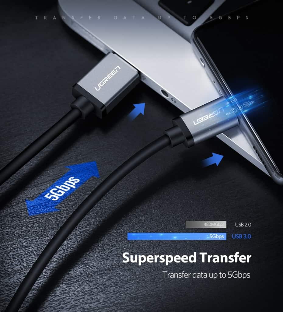สายชาร์จ ugreen usb 3.0 type c Fast charging cable-superspeed transfer