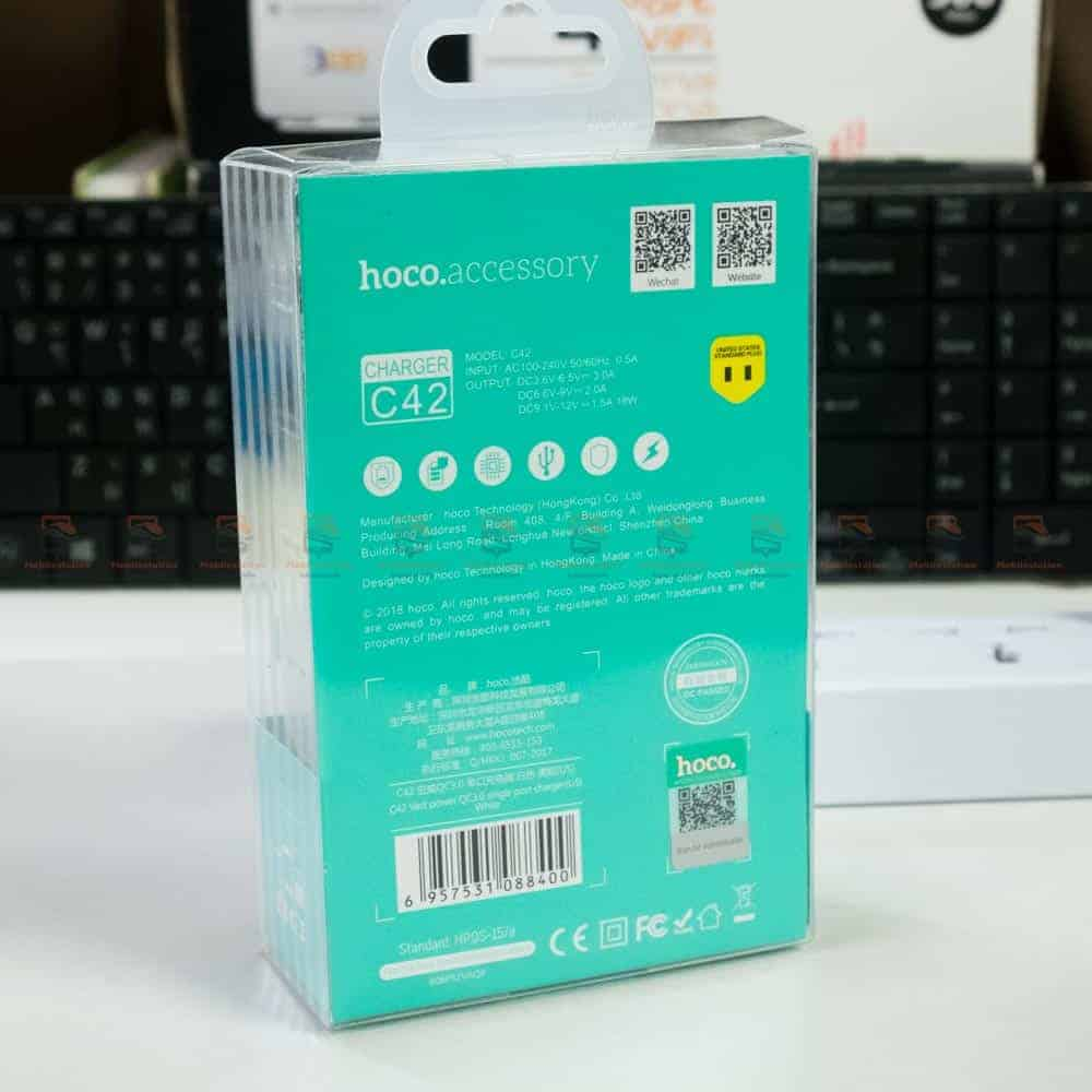USB Charger Hoco C42 support fast charging QC3.0 QC2.0 FCP AFC -box back