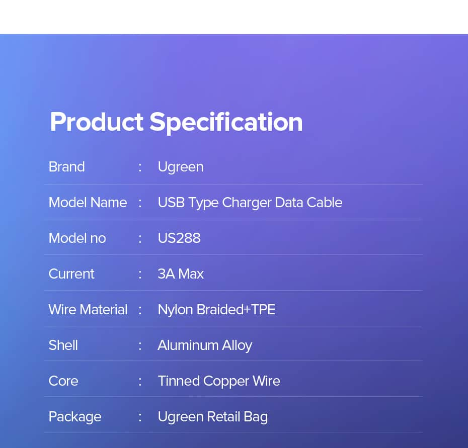 สายชาร์จ Type C UPGRADE 3A Fast CHARGING FOR DEVICES USB-C CONNECTOR-Product Specification