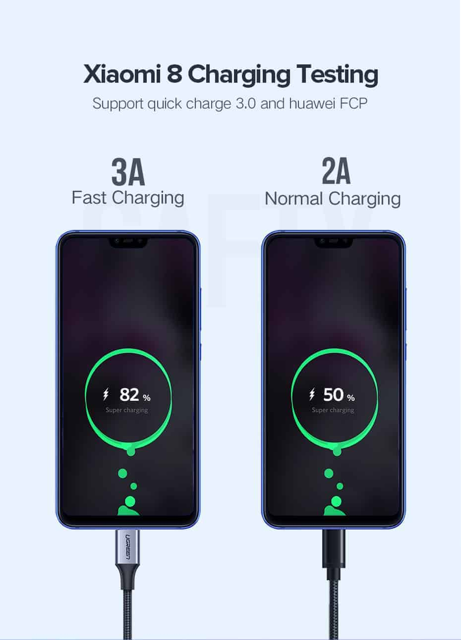 สายชาร์จ Type C UPGRADE 3A Fast CHARGING FOR DEVICES USB-C CONNECTOR-Xiaomi8 Charging Testing