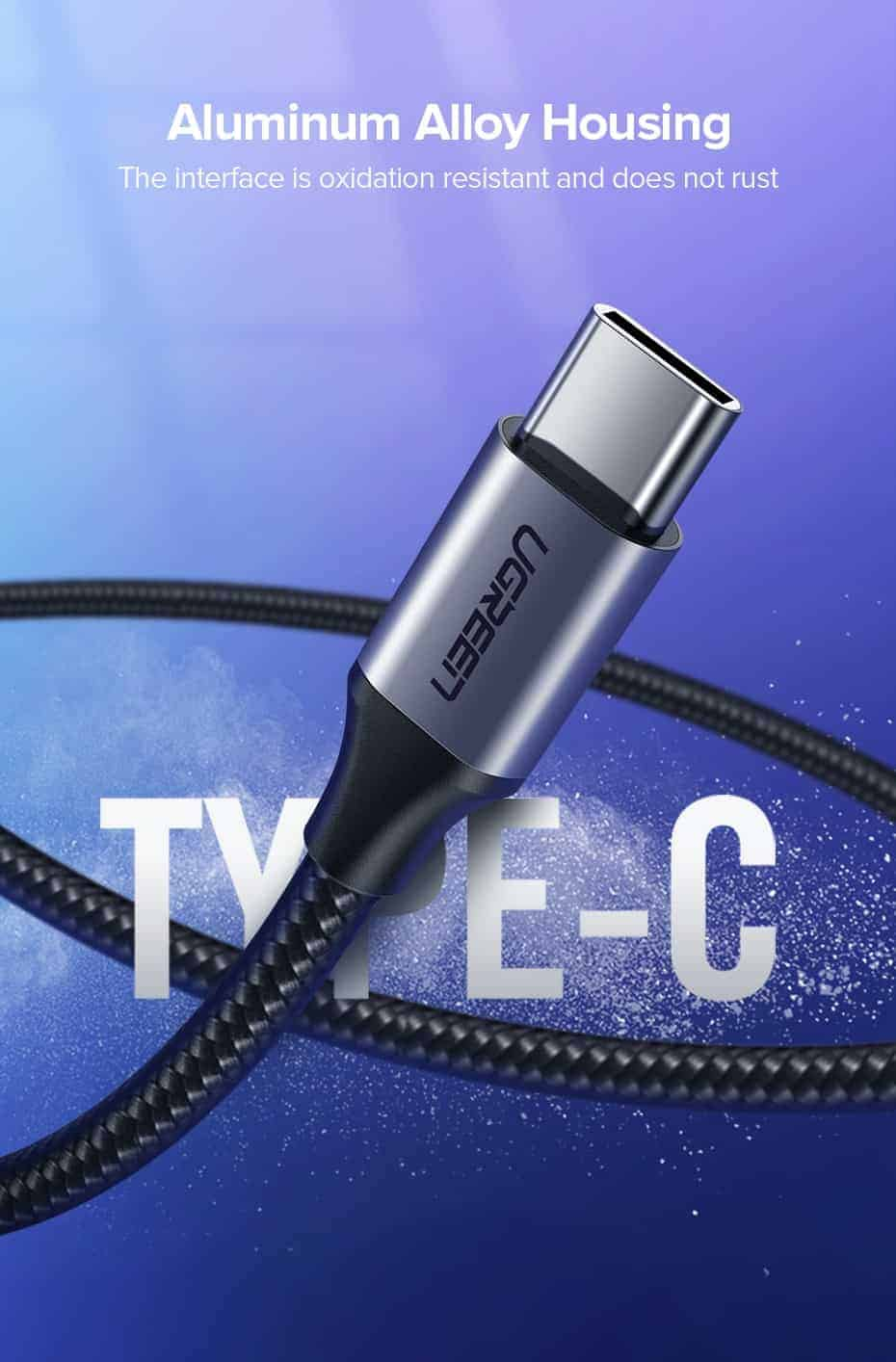 สายชาร์จ Type C UPGRADE 3A Fast CHARGING FOR DEVICES USB-C CONNECTOR-aluminum alloy housing