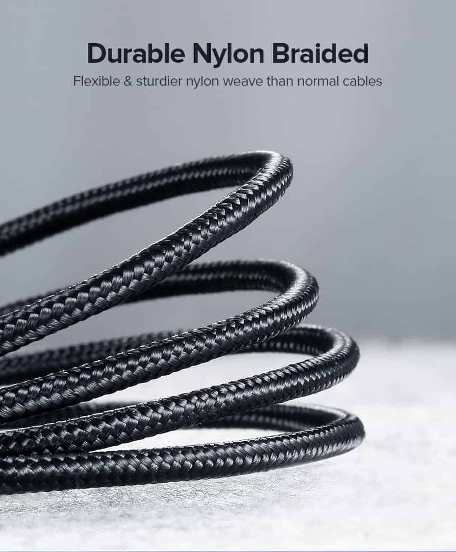 สายชาร์จ Type C UPGRADE 3A Fast CHARGING FOR DEVICES USB-C CONNECTOR-durable nylon braided