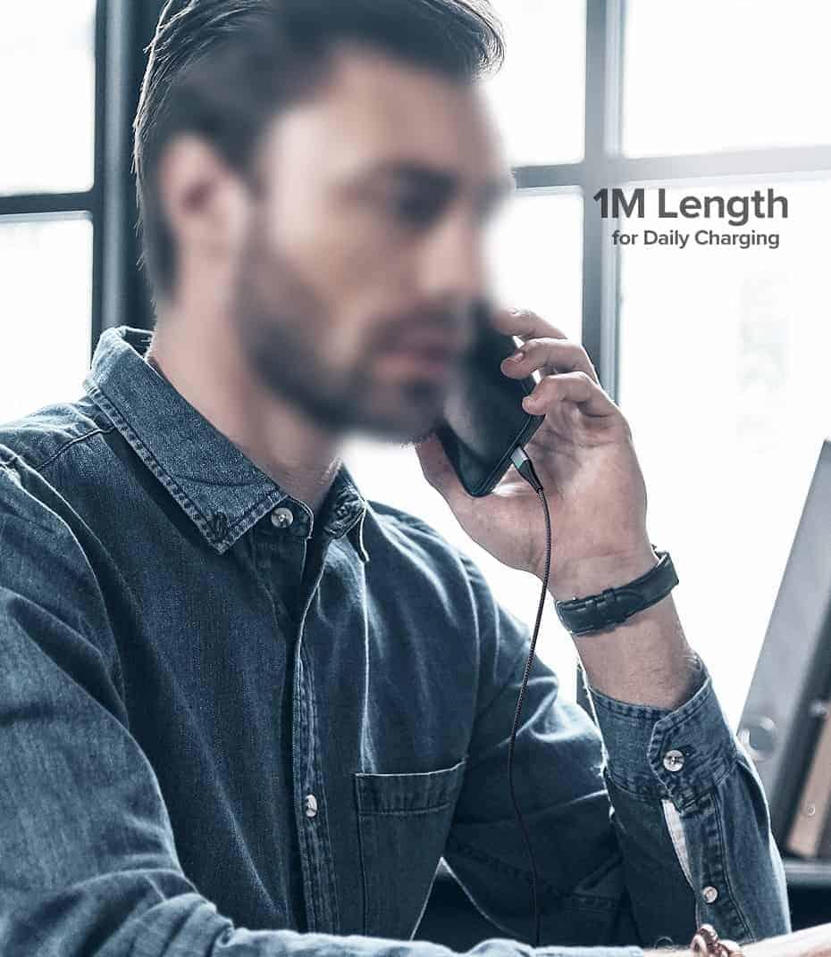 สายชาร์จ Magnetic Micro USB Type C Charger Data Cable Brand Ugreen For Samsung Android-1M Length