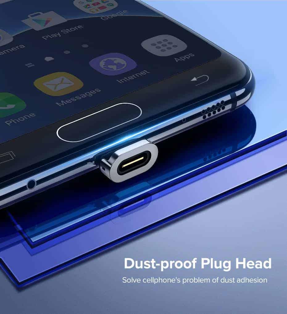 สายชาร์จ Magnetic Micro USB Type C Charger Data Cable Brand Ugreen For Samsung Android-Dust-proff Plug Head