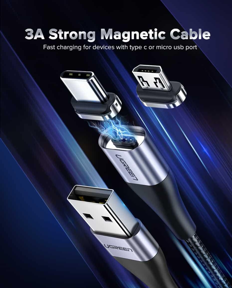 สายชาร์จ Magnetic Micro USB Type C Charger Data Cable Brand Ugreen For Samsung Android-Fast charging
