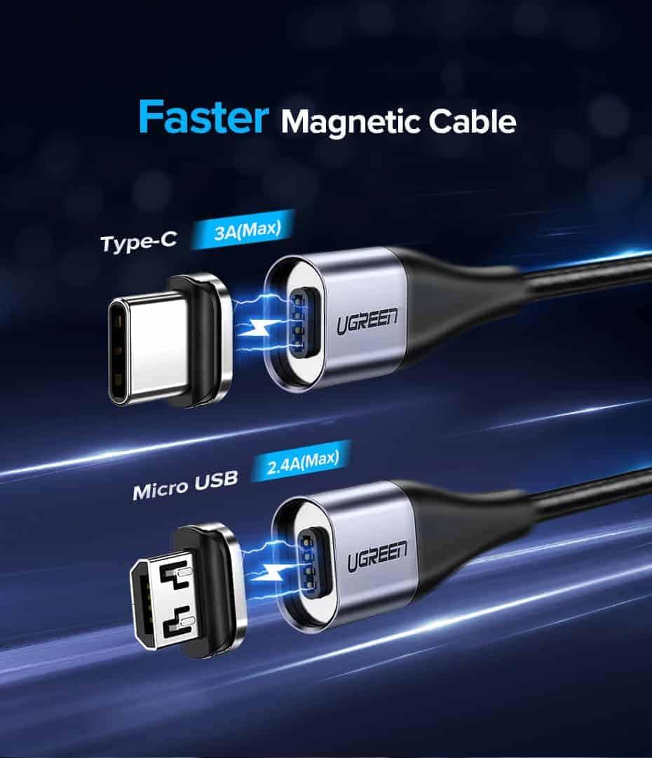 สายชาร์จ Magnetic Micro USB Type C Charger Data Cable Brand Ugreen For Samsung Android-Faster