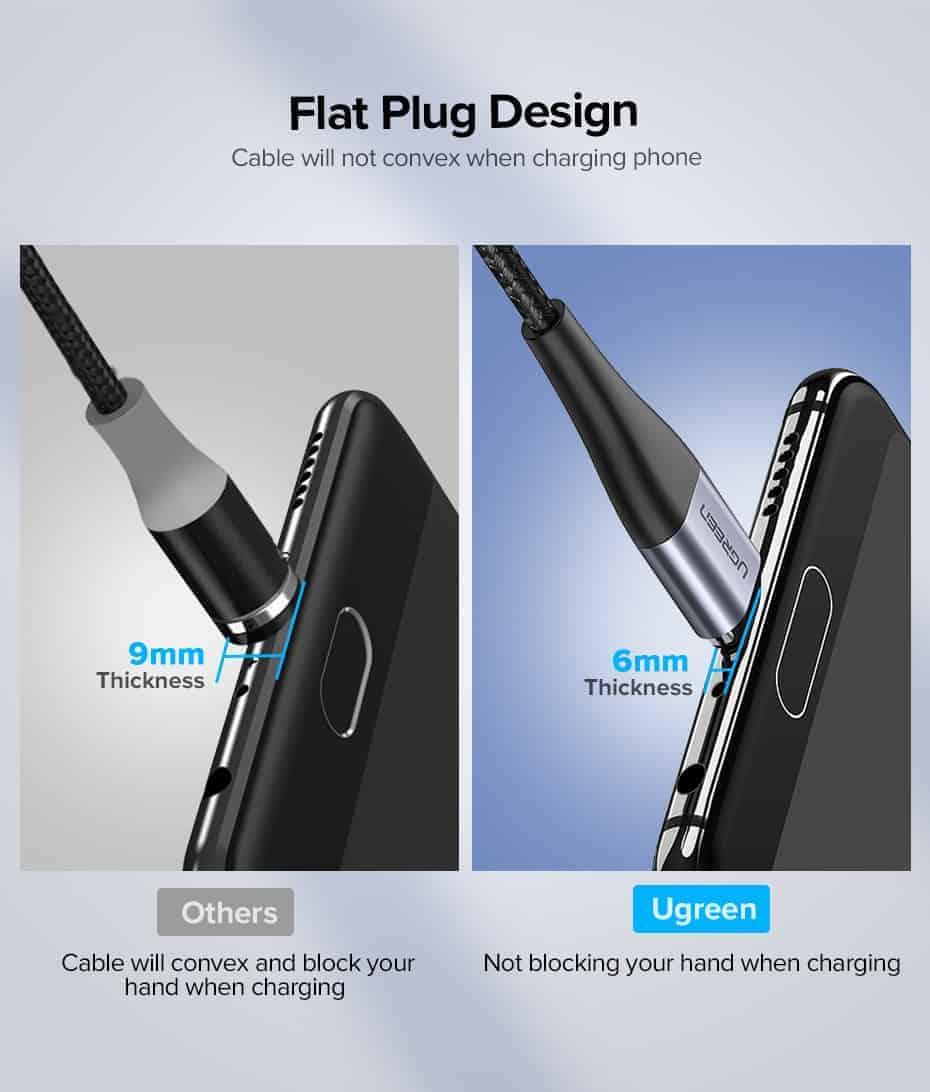 สายชาร์จ Magnetic Micro USB Type C Charger Data Cable Brand Ugreen For Samsung Android-Flat Plug Design