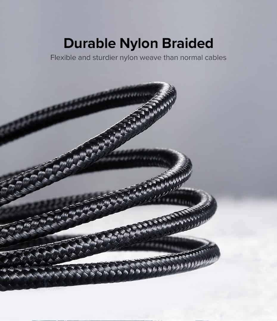 สายชาร์จ Magnetic Micro USB Type C Charger Data Cable Brand Ugreen For Samsung Android-Nylon braided