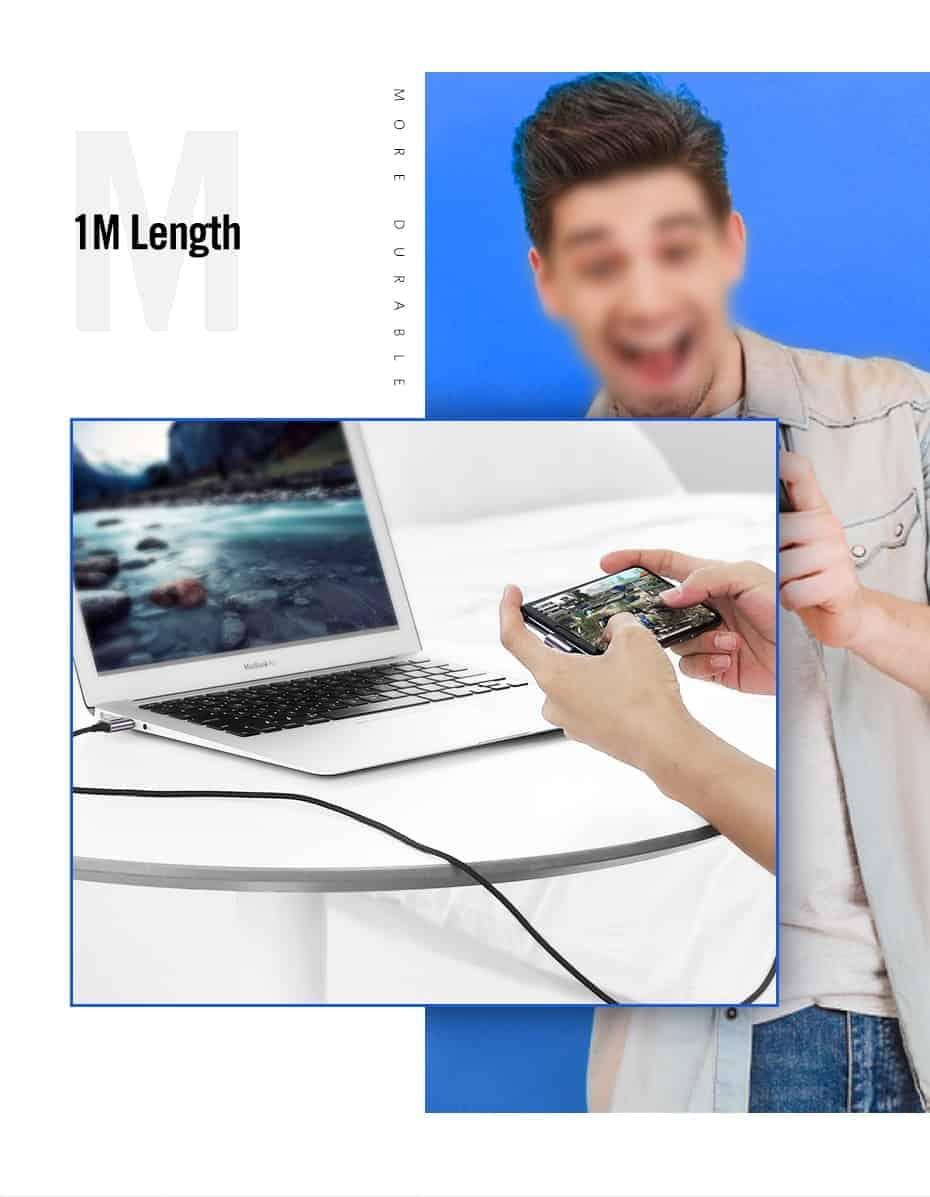 Ugreen 3A USB Type C 90 Degree-1M Length