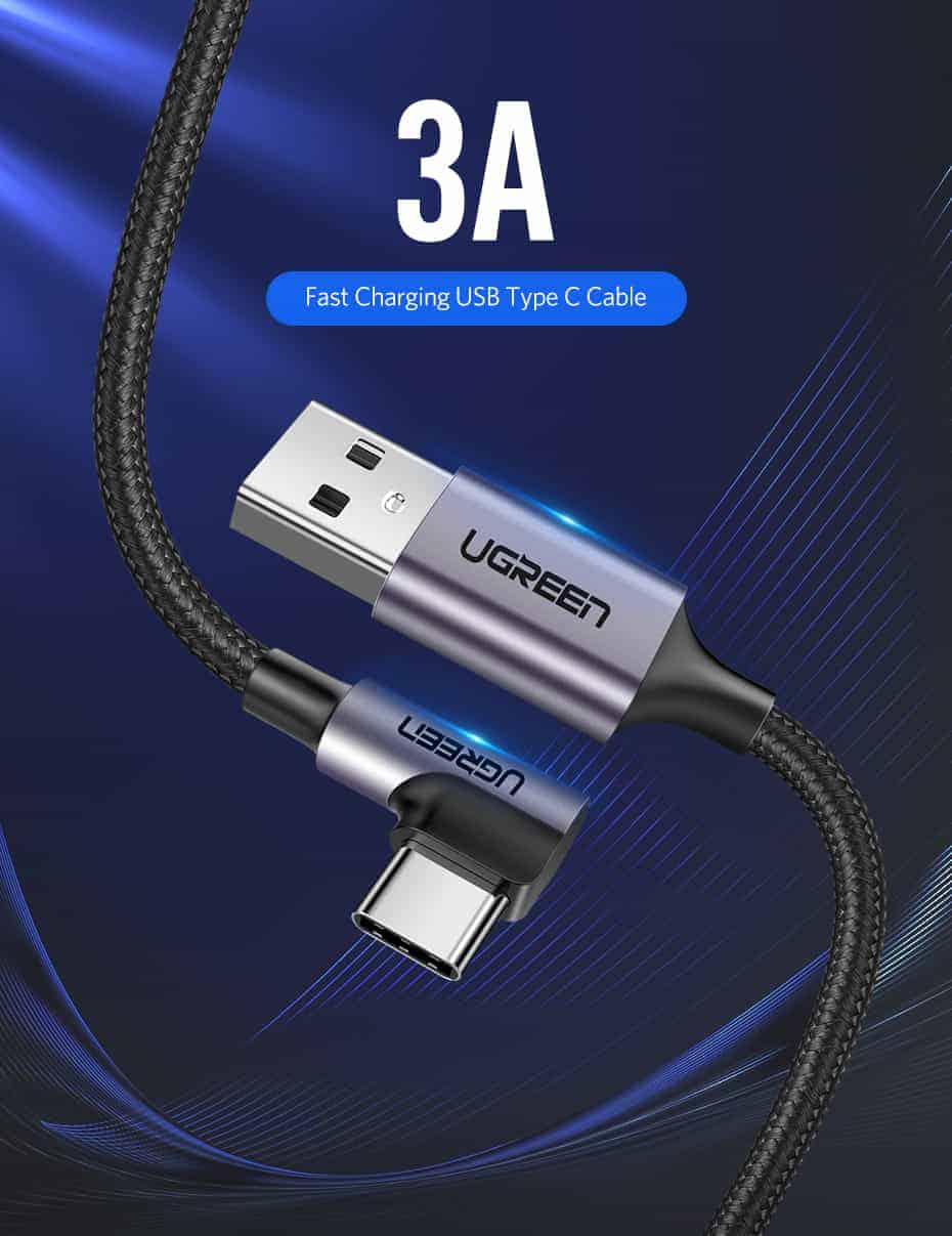 Ugreen 3A USB Type C 90 Degree-Fast Charging