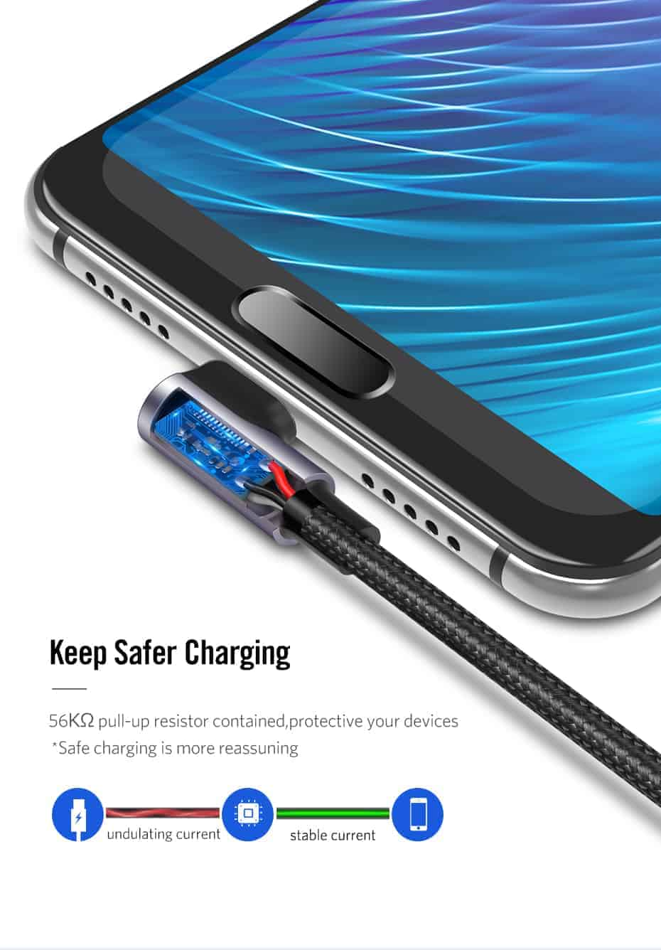 Ugreen 3A USB Type C 90 Degree-Keep Safer Charging