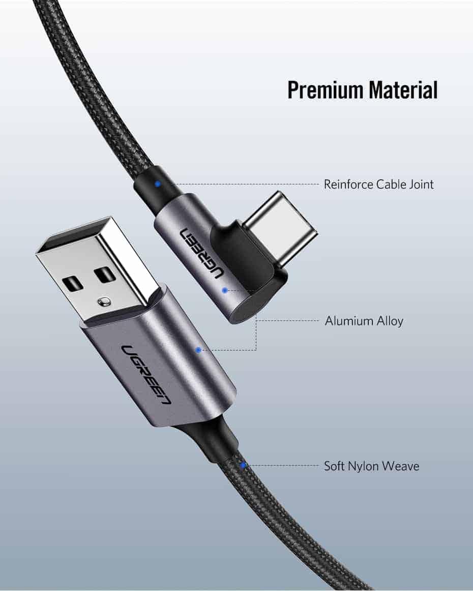 Ugreen 3A USB Type C 90 Degree-Premium Material