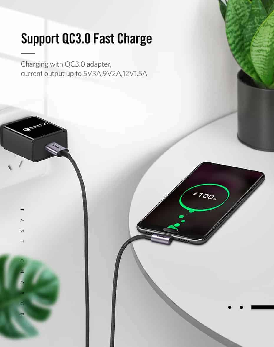 Ugreen 3A USB Type C 90 Degree-Support QC3.0 Fast Charge