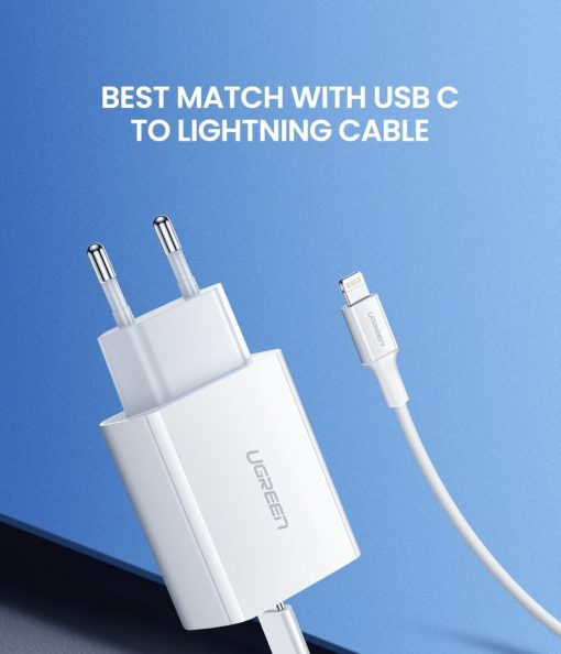 18W USB-C Power Adapter Ugreen for iPhone 11 11 PRo X Xs 8 - Best match with USB C to Lightning cable