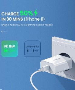 18W USB-C Power Adapter Ugreen for iPhone 11 11 PRo X Xs 8 - Charge 50% in 30mins