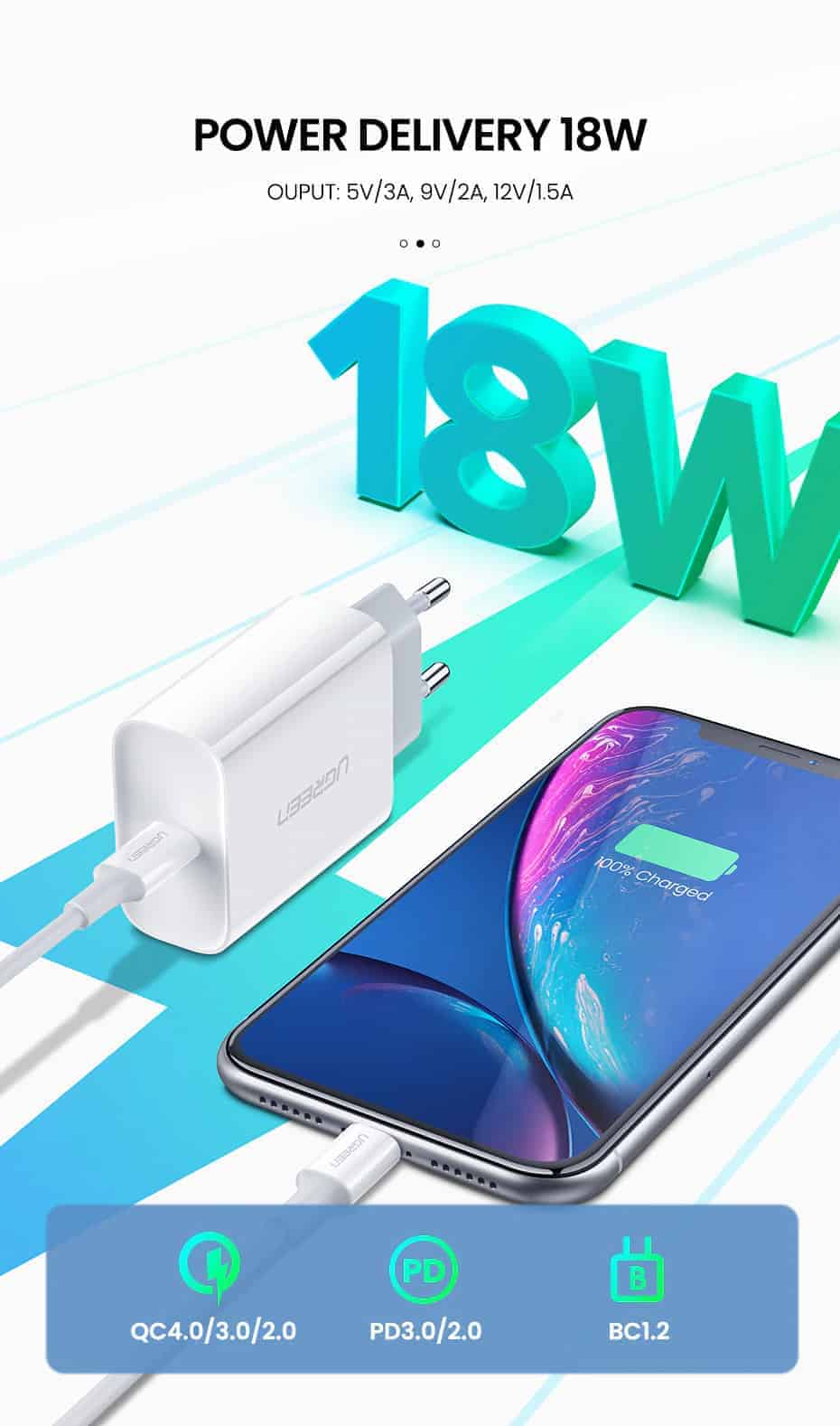18W USB-C Power Adapter Ugreen for iPhone 11 11 PRo X Xs 8 - Compatible with quick 4.0 3.0 2.0