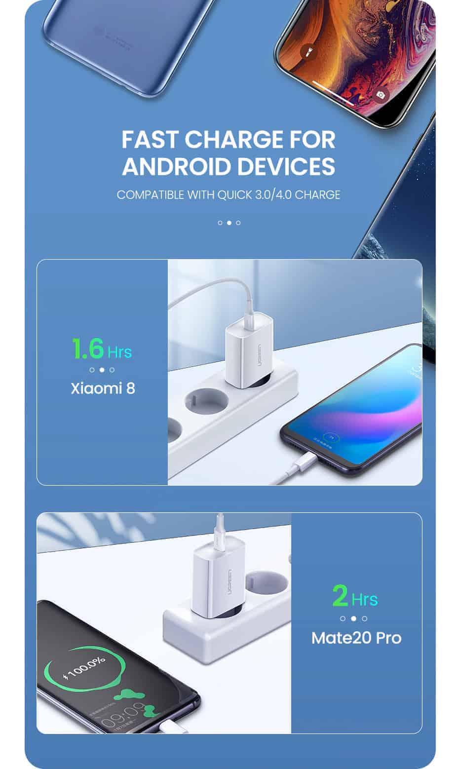 18W USB-C Power Adapter Ugreen for iPhone 11 11 PRo X Xs 8 - Fast charge for Android devices