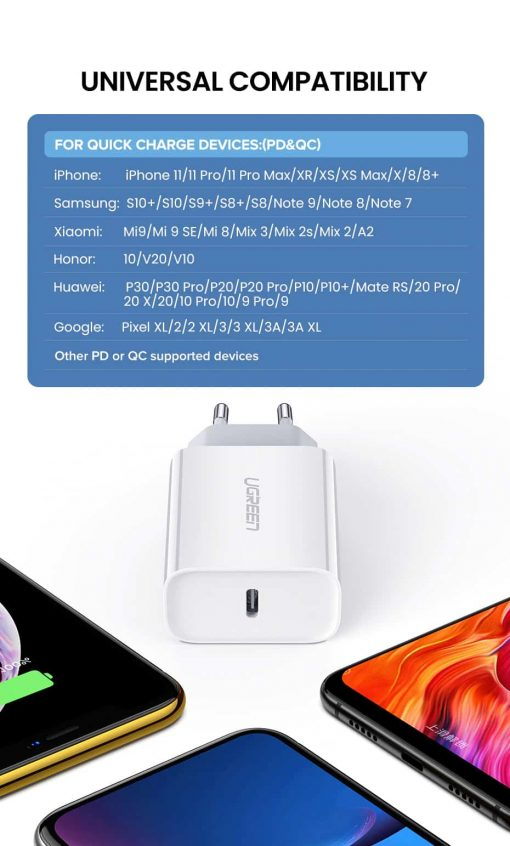 18W USB-C Power Adapter Ugreen for iPhone 11 11 PRo X Xs 8 - Universal Compatibility