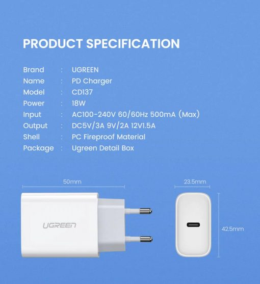 18W USB-C Power Adapter Ugreen for iPhone 11 11 PRo X Xs 8 - product specification