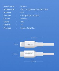 18W USB-C Power Adapter Ugreen for iPhone 11 11 PRo X Xs 8 - product specification cable