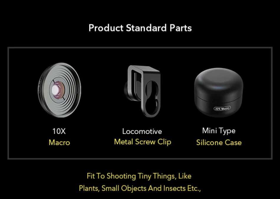 Mobile macro lens APEXEL HD 10X - Product standard parts
