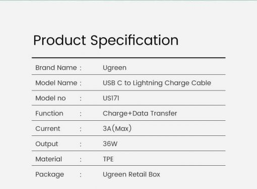 PD Fast USB C To Lightning Cable Product specification1