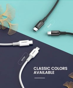 PD Fast USB C To Lightning Cable White Black Colors