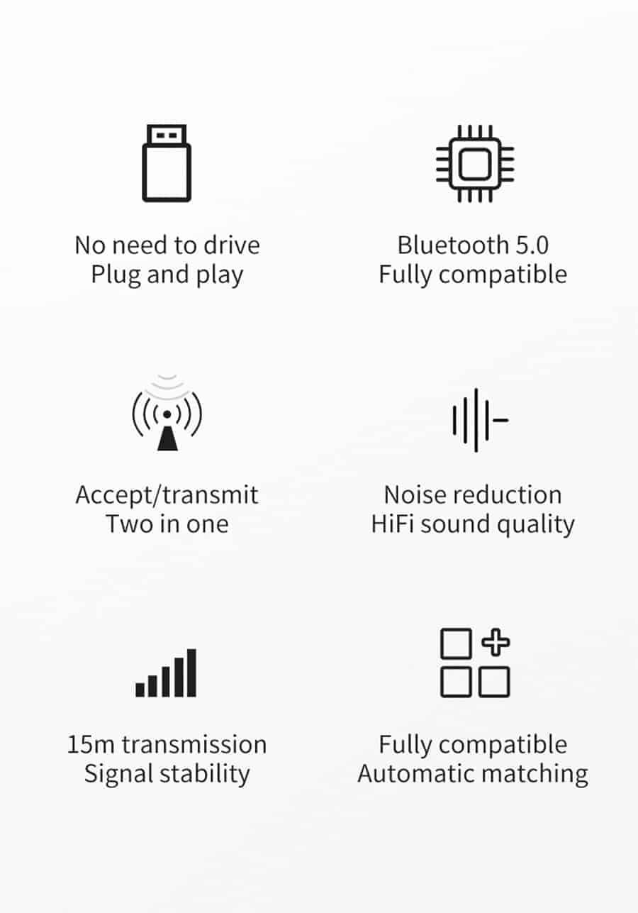 Bluetooth 5.0 car Audio Receiver Transmitter Main function