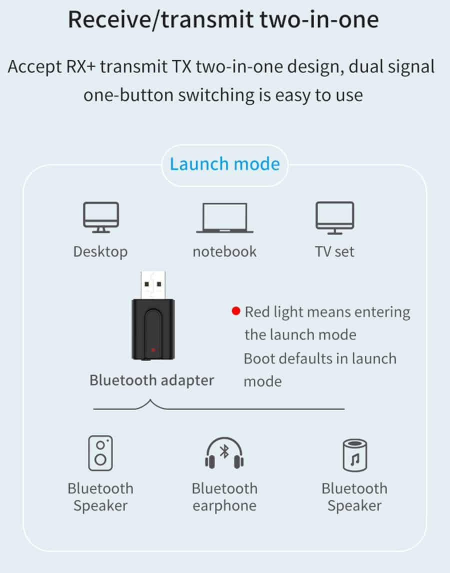 Bluetooth 5.0 car Audio Receiver Transmitter dual signal one-button easy to use
