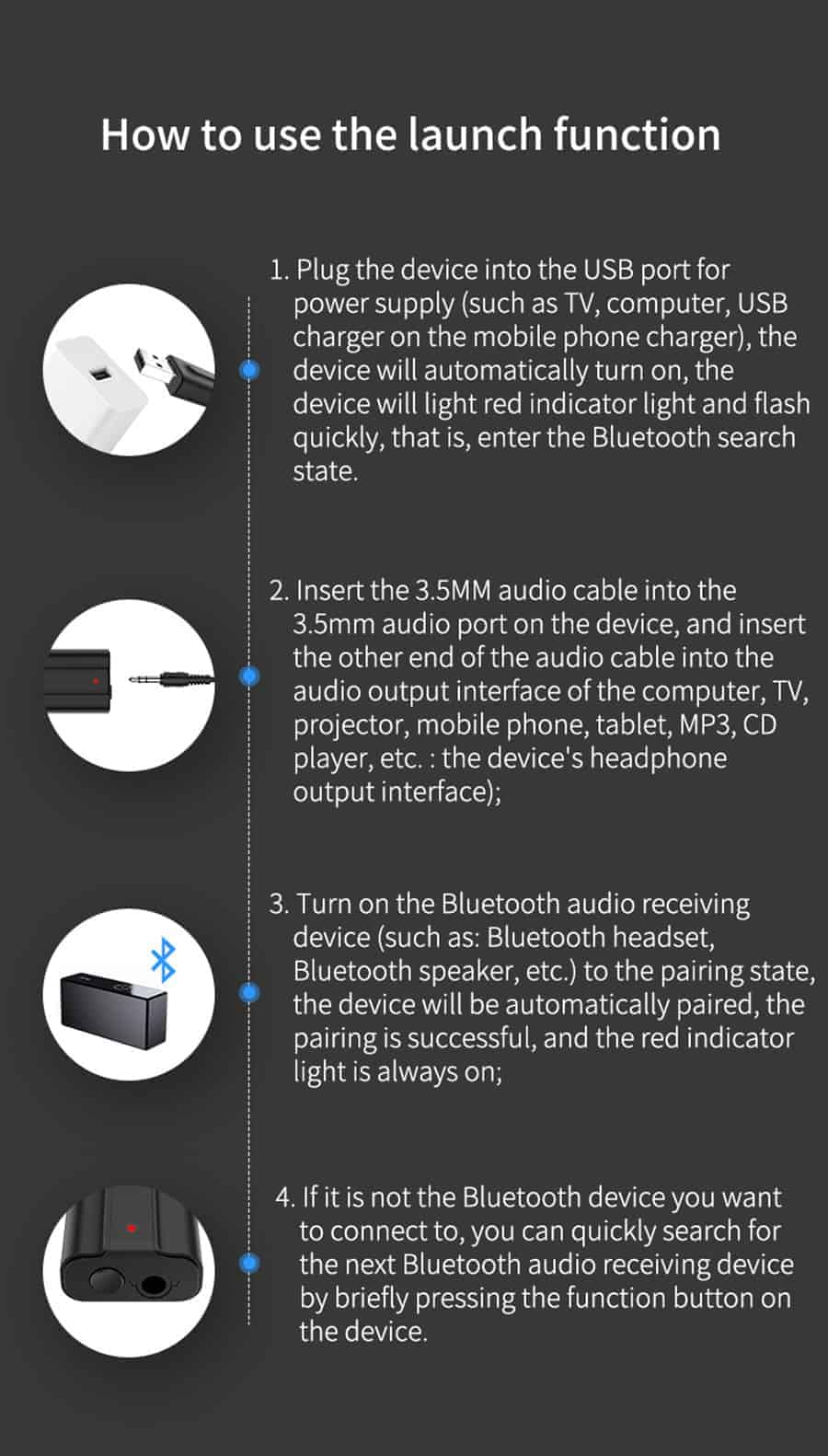 Bluetooth 5.0 car Audio Receiver Transmitter how to use the launch function