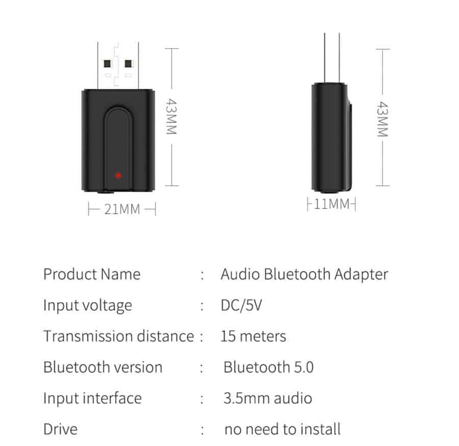 Bluetooth 5.0 car Audio Receiver Transmitter parameter