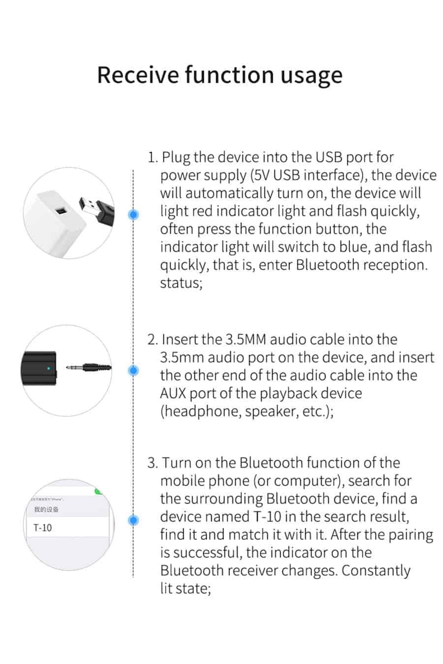 Bluetooth 5.0 car Audio Receiver Transmitter receive function usage