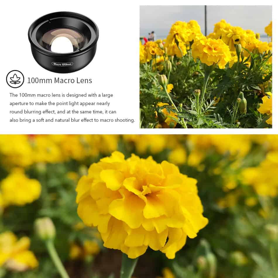 APEXEL HD optic camera phone lens 100mm macro lens also bring a soft and natural blur effect to macro shooting