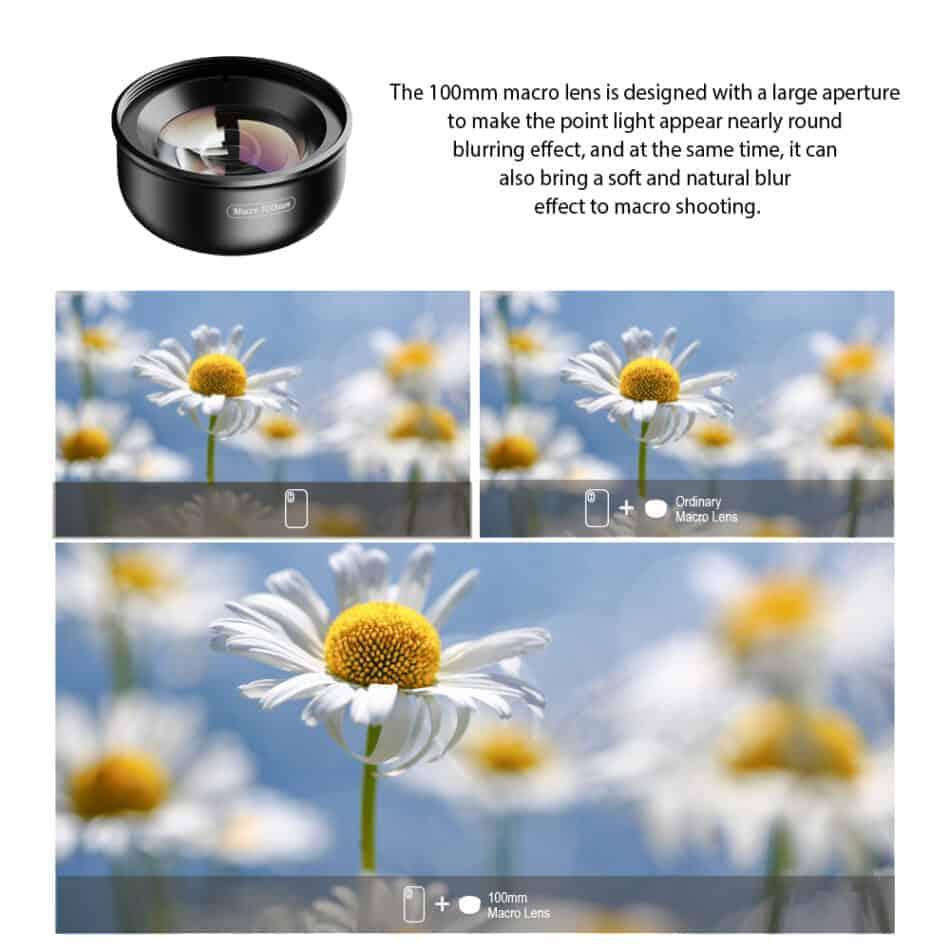 APEXEL HD optic camera phone lens 100mm macro lens blurring effect