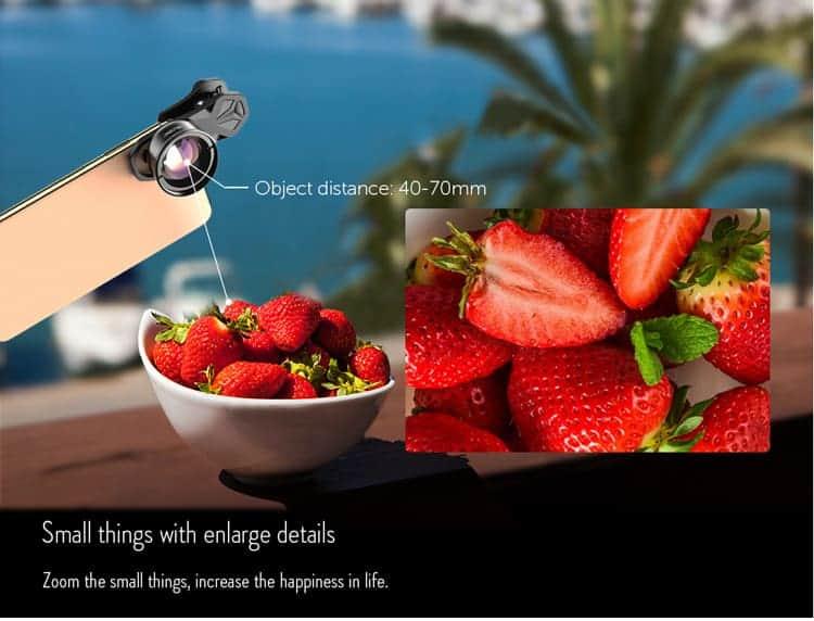 APEXEL HD optic camera phone lens 100mm macro lens object distance