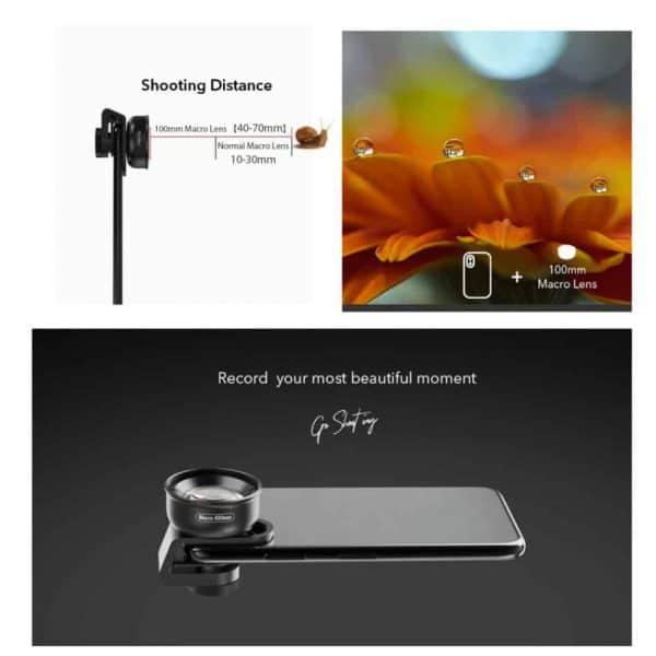 APEXEL HD optic camera phone lens 100mm macro lens shooting distance