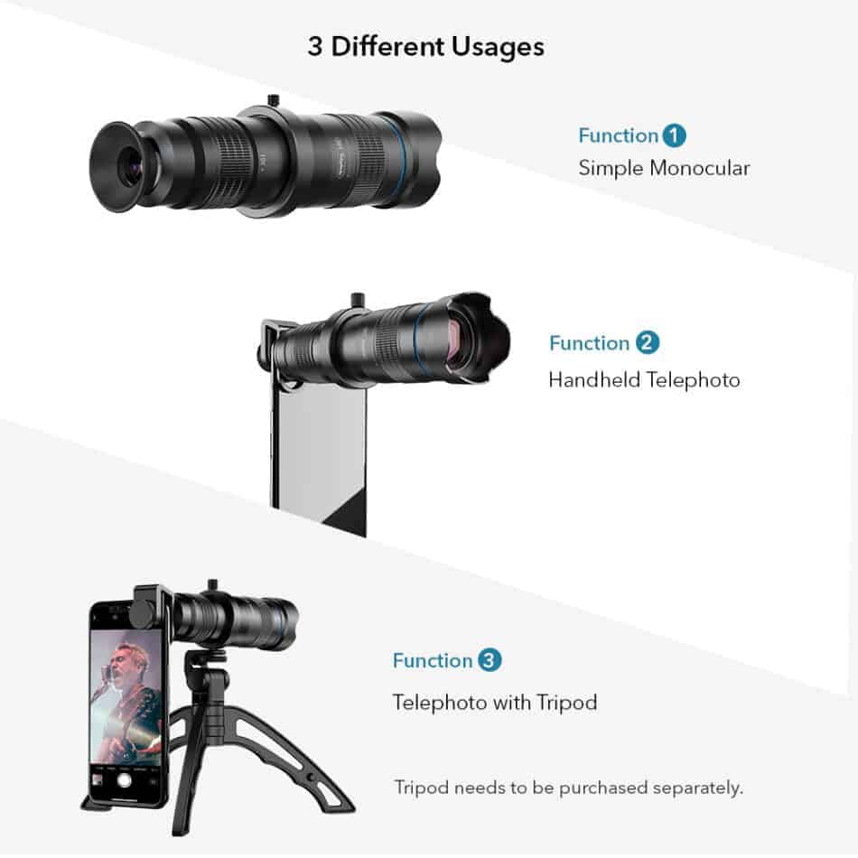 APEXEL optic phone mobile camera lens 36x telephoto 3 different usages