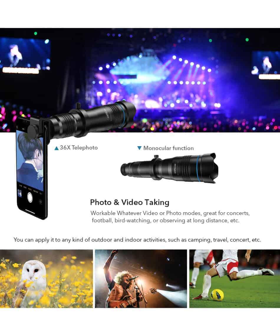 APEXEL optic phone mobile camera lens 36x telephoto Photo video taking