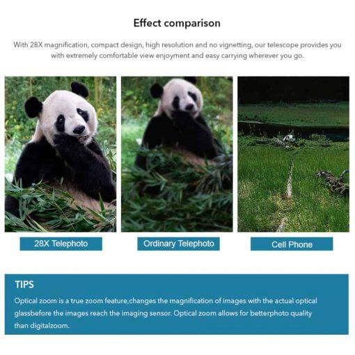 APEXEL optic phone mobile camera lens 36x telephoto effect comparison